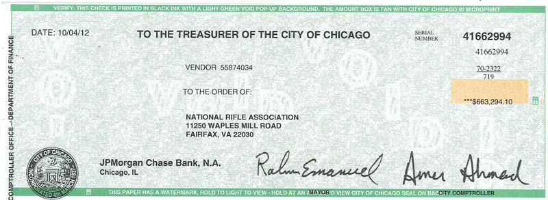 Chicago Check To NRA